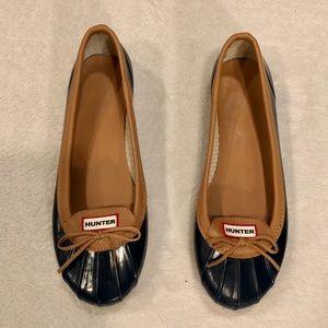 Hunter Blue & Tan Duck Ballet Flats Size 9 VGUC